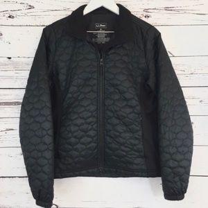 L. L. Bean black quilted zip up jacket coat Small
